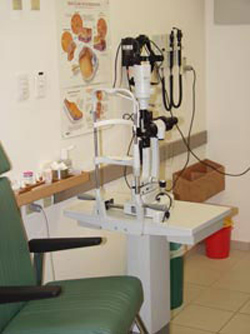 Slit-lamp photographed in an eye clinic room